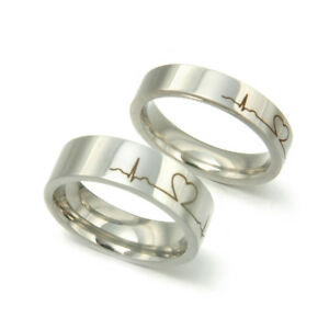 Silver Color Couple Finger Rings Lover Heartbeat Ecg Pattern