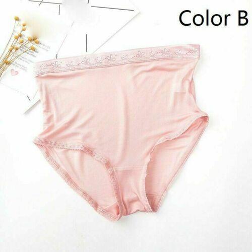 1X Women Underwear 70/% Silk Lace Trim High Waist Briefs Panties Solid Soft Cosy
