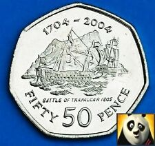 2004 GIBRALTAR 50p Fifty Pence Battle of Trafalgar 1805 Unc 7 Side Coin