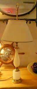 Vintage-Frederick-Cooper-White-Opaline-Glass-Lamp-w-Shade-Exc