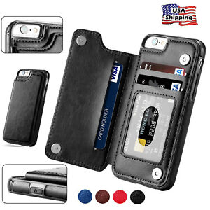 For-iPhone-6-7-Plus-Wallet-Card-Slot-Case-Leather-Shockproof-Magnetic-Flip-Cover