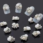 10pcs 3D Alloy Jewelry Nail Art Rose Flower Crystal Rhinestone Pearl Decoration