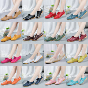 16-Colours-Womens-Casual-Flats-Loafers-Ladies-Real-Leather-Comfort-Pumps-Shoes