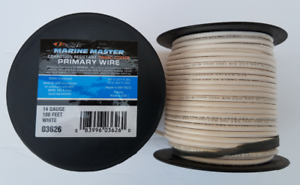 Marine Wire Primary Wire 14 Gauge color White. one 100 ft roll