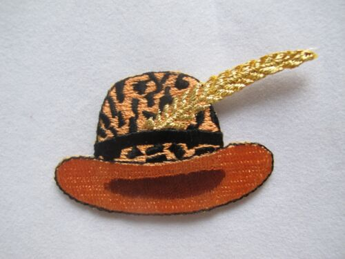 #2705 Leopard Print,Red w//Golden Feather Cap//Hat Embroidery Applique Patch