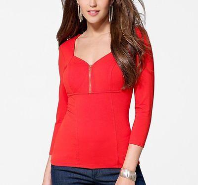 nwt sexy cache zipper corset stretch dress top red white