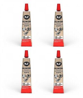 Abdichten 4x K2 Silikon Silikon Hochtemperatur Dichtmasse 350° Rot 21g