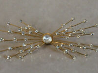Wonderful Star Rays Burst Diamante Studded Large Gold Tone Broach Pin -fabulous