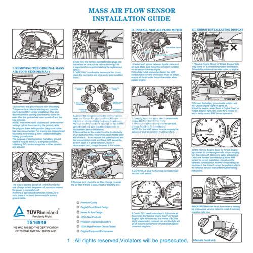 Mass Air Flow Sensor Fit 04-08 Buick LaCrosse Allure Cadillac CTS SRX 2.8L 3.6L