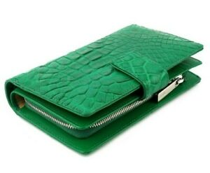 Women-Genuine-Crocodile-Alligator-Belly-Skin-Leather-Clutch-Wallet-Purse-Bifold