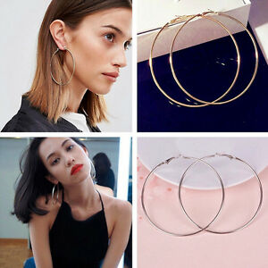 Women Gold Silver Metal Big Circle Smooth Large Ring Hoop Earrings ... 97a6e4eff7