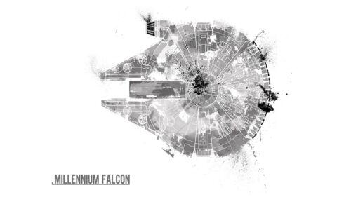 A4 A3 A2 A1 A0| Millennium Falcon Art Poster T233 Star Wars