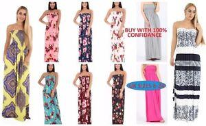 Plain-printed-plus-Summer-Bardot-Maxi-Dress-Sheering-Gather-Boobtube-Bandeau