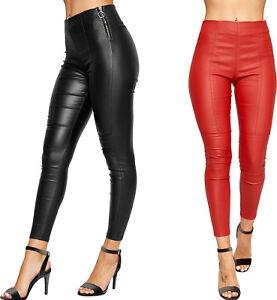 Womens-PU-Faux-Leather-Wet-Look-Zip-Trousers-Pants-Ladies-Skinny-Leg-Biker-Jeans