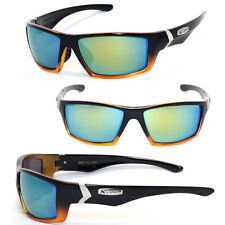 Mens Outdoor Biker Sport Motocycle Sunglasses - Transparent Gold/Gold Mirror X47