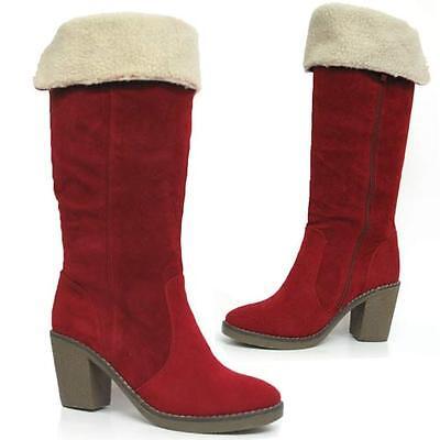 Ladies Womens Knee High Mid Block Heel Biker Winter Fur Desert Boots Shoes Size