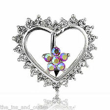 Reverse Heart Flower CLEAR Gem Belly Ring Navel (w80)