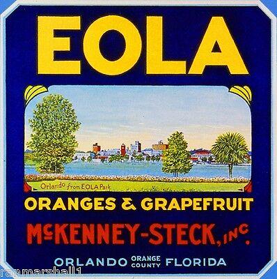 Orlando Florida EOLA Park Orange Citrus Fruit Crate Label Art Print