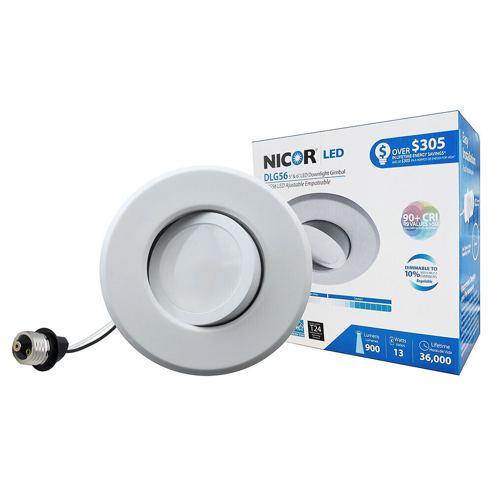NICOR 6 in. LED Gimbal Downlight Retrofit Kit for 5 and 6 in. Housings, 4000K