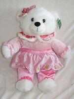 2010 Walmart Christmas Snowflake Teddy Bear White Girl 20 Pink Dress Plush