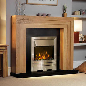 ELECTRIC SOLID OAK SURROUND BLACK MARBLE GRANITE FIRE ...