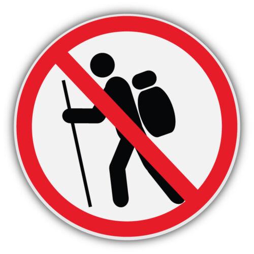 No Hiking Ban Stop Sign Car Bumper Sticker Decal 5/'/' x 5/'/'