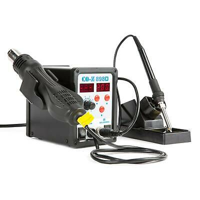 SMD Soldering Iron /& Hot Air Rework Station 898D Digital 2 in 1 W 11 Iron tips