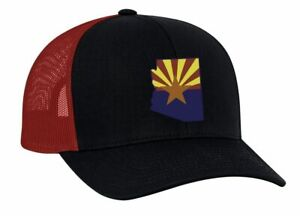 6a717422d Details about Heritage Pride Arizona State Flag Embroidered Trucker Mesh  Snapback Hat-Navy-Red
