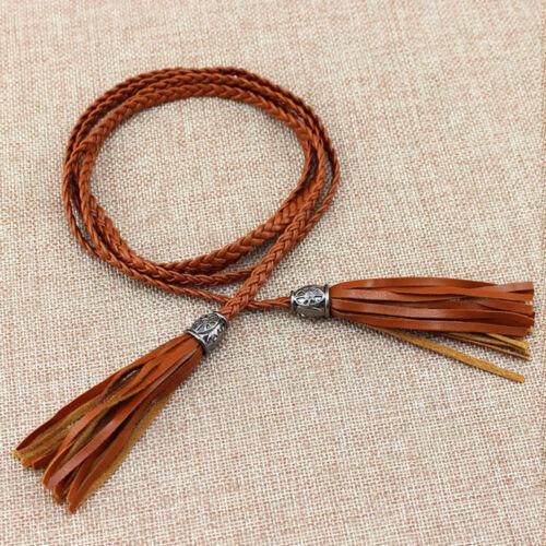 UK Bohemia Women Braided Belt Tassel Self-Tie Thin Skinny Waist Rope Waistband