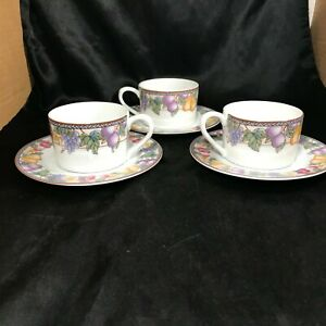 Set-of-3-American-Atelier-Fruit-n-Flowers-Cups-and-Saucers