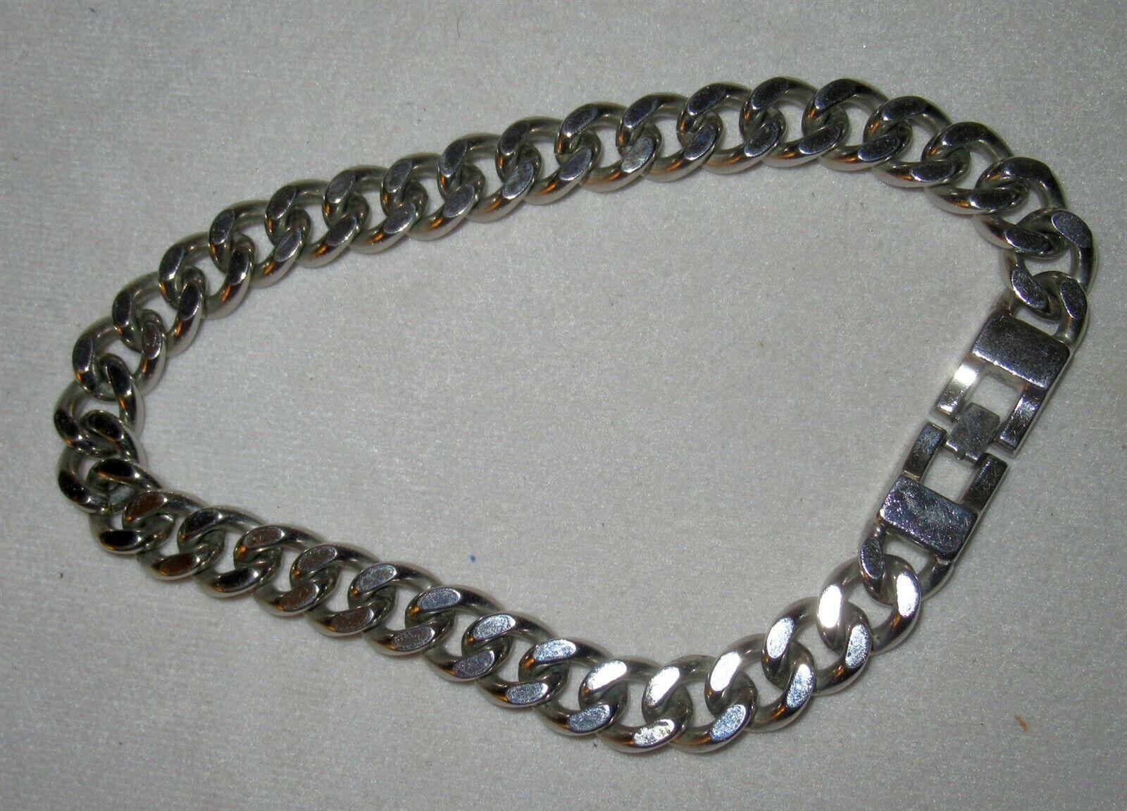 Monet Heavy Silver Tone Cuban Curb Link Boot Ankle Bracelet Shoe Jewelry