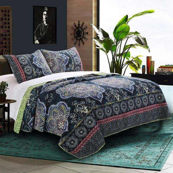 TWYLA 3pc Queen Quilt Set REVERSIBLE blueE FLORAL MYTHIC MEDALLION TRIBAL INDIGO