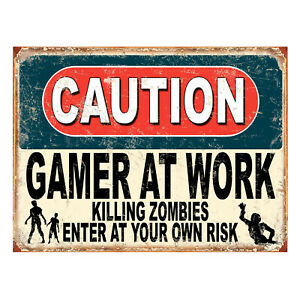 Caution Gamer At Work Killing Zombies, funny retro metal sign novelty Gift