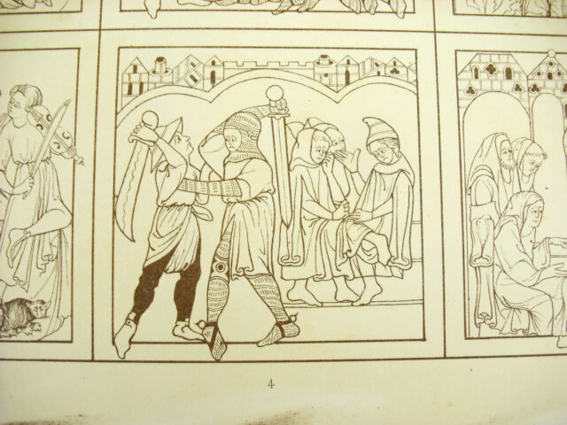 Allegories Bible Of British Museum France Xive Century Litho Xixth 1858 Hangard