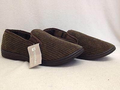 Caballeros De Pana Para Hombre Zapatillas Suela Dura completo de interior acogedor Cálido Plana Antideslizante en tamaño