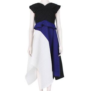 Proenza-Schouler-Indigo-White-Black-Sculptured-Plisse-Pleated-Dress-US6-UK10