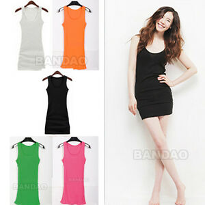Womens-Vest-skirt-Long-Sleeveless-Tank-top-T-shirt-mini-Dress-Candy-Color-Solid