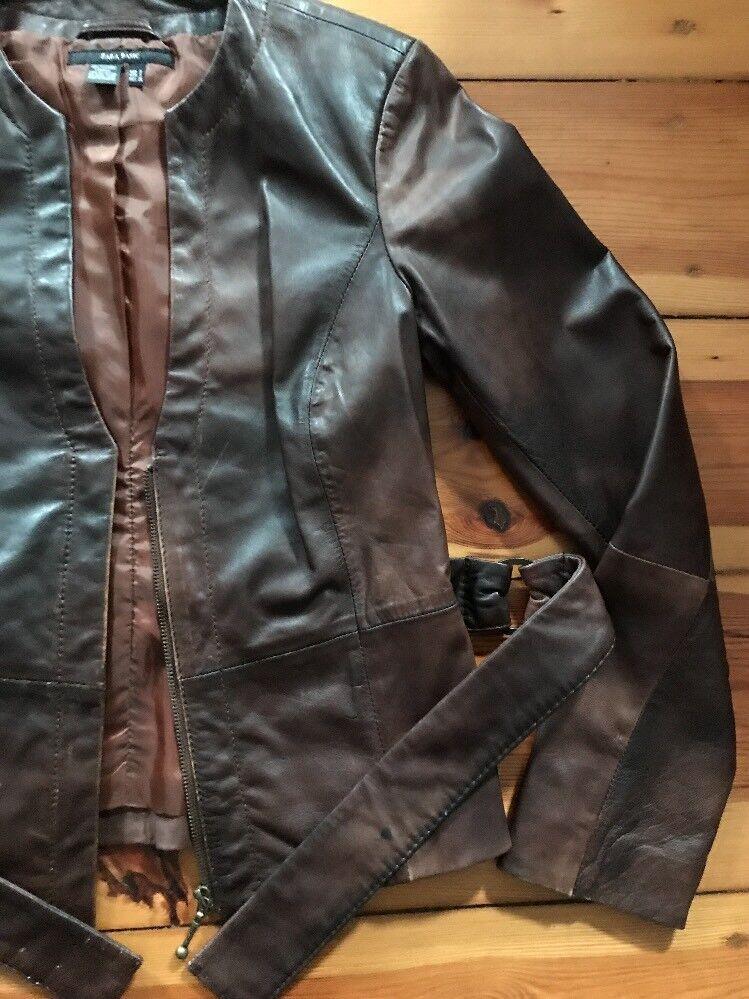 Schöne Lederjacke, ZARA, braun, Gr S, leichter Vintage-Look, Gürtel, guter Zust.