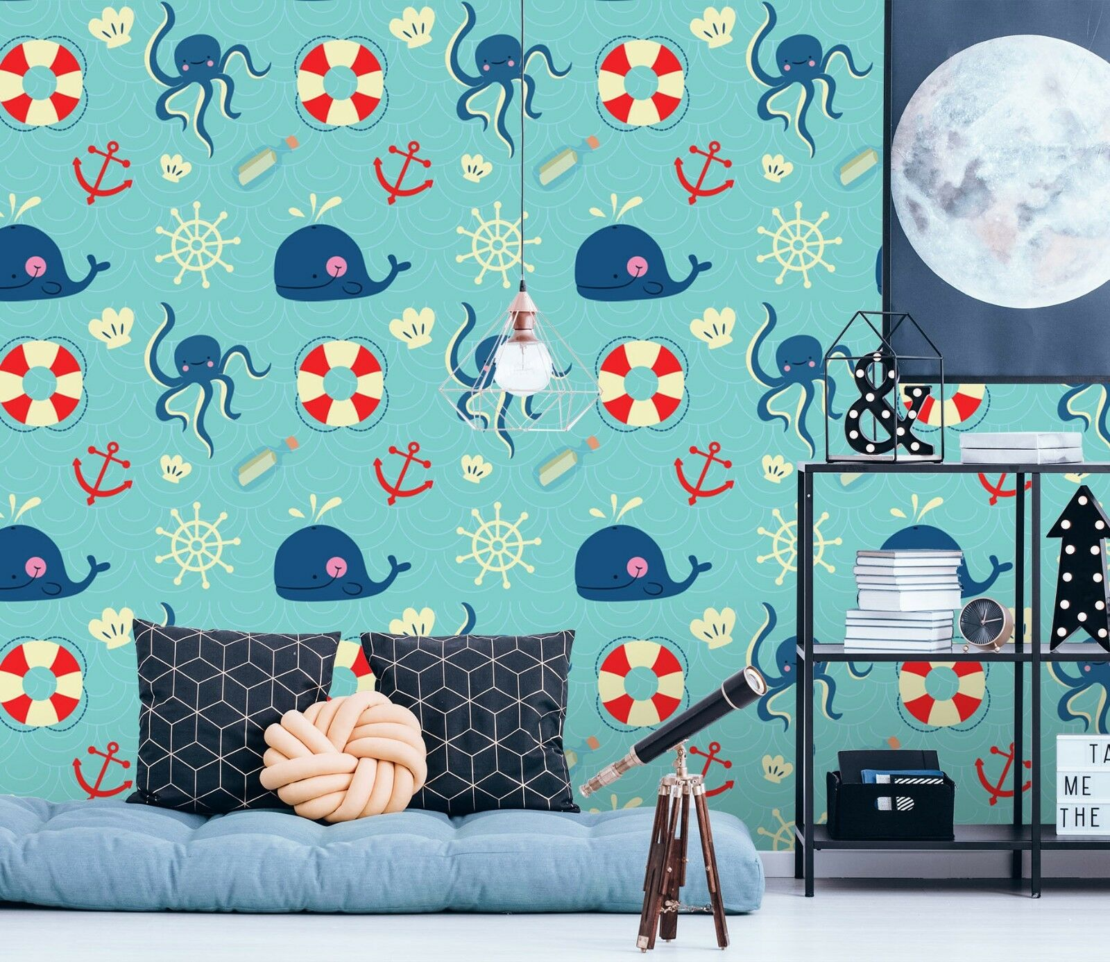 3D Dolphin Octopus Sea bluee 3 Wallpaper Mural Wall Print Decal Indoor Murals AU