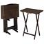 mainstays walnut 5-piece folding tv tray table set (4 trays, 1 stand) - brown