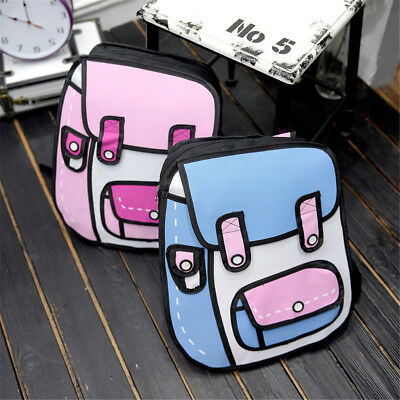 3D Jump Style 2D Drawing Cartoon Paper Bag Backpack Comic Backpack Bookbag Pack