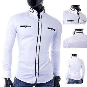 Para-Hombres-Camisa-Blanca-Grandad-Collar-Slim-Fit-Algodon-Informales-Formales-costura-negra-Reino
