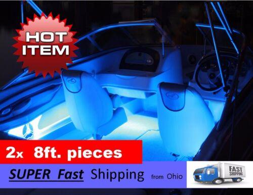 led boat // pontoon boat // fishing boat KIT 2x 8ft long LED lights BLUE