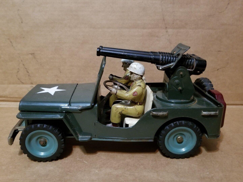 Msk Juguete Juguete Juguete Lata Japón Militar Jeep Willys con Cañón Fricción Coche Años 50 Muy  Mejor precio