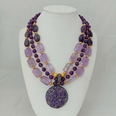 17/'/' 3 Rows Round Rectangle Purple Amethyst Necklace Amethyst Rough Pendant