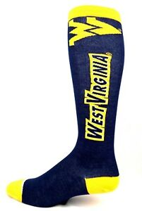 West-Virginia-Mountaineers-NCAA-Long-Thin-Blue-Crew-Socks