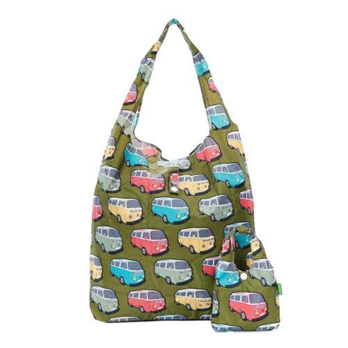 Camper Van print foldaway shopper holds 15kg max ECO CHIC shopping bag