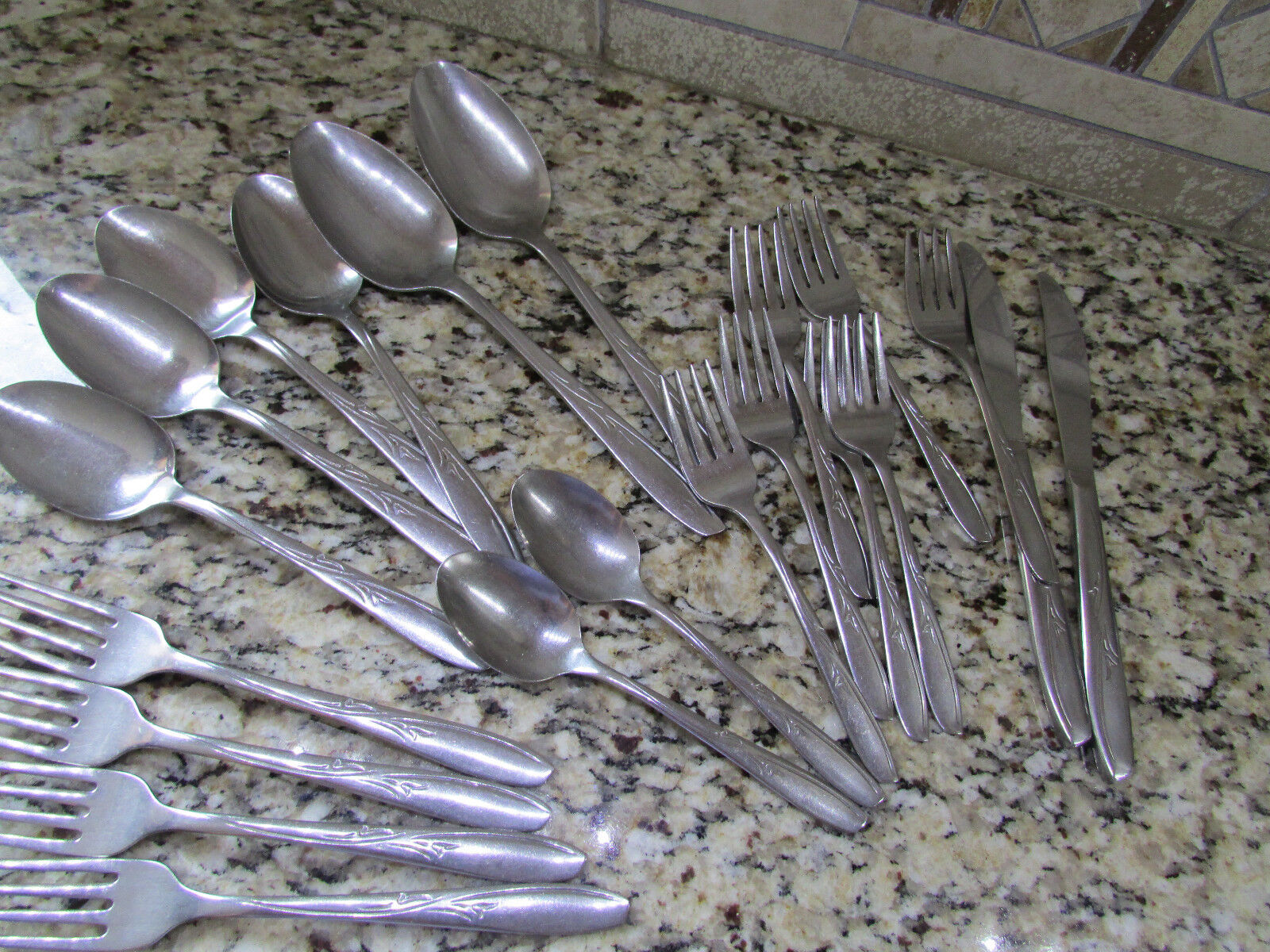 21 PIECE SILCO INS216 STAINLESS FLATWARE FORKS SPOONS SET+++FREE SHIP