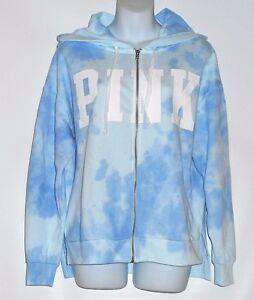 61b287890ba89 Details about Victoria's Secret Pink Tie Dye Full Zip Slouchy Hoodie Blue  Cloud XS NWT