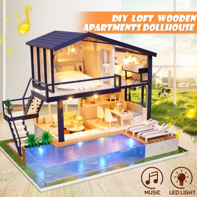 DIY Villa Cottage Wooden Handcraft Miniature Dollhouse LED Light Music Kids Gift
